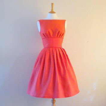Red Linen Tiffany Prom Dress made to measure by by digforvictory