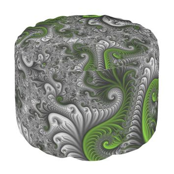 Fantasy World Green And Gray Abstract Fractal Art Pouf