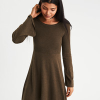 AE Ahh-Mazingly Soft Bell-Sleeve Sweater Dress, Olive