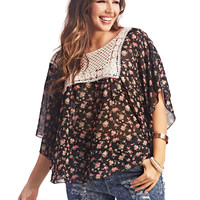 Floral Crochet Bib Blouse | Wet Seal+