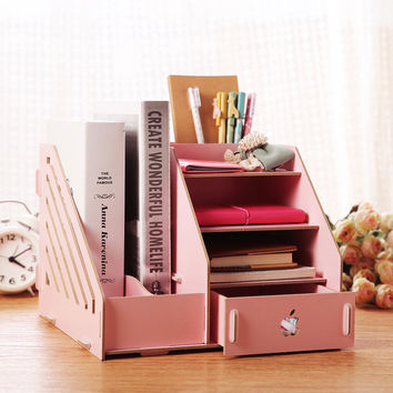 Multifunction Wood Stationery Storage Box Office Desk Organizer 25*26*20cm Jewelry Makeup Drawer
