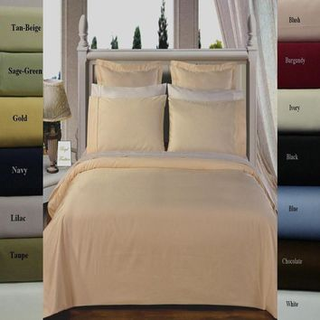 450 Thread Count Solid Duvet Cover Set 100% Combed cotton