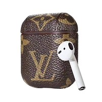 LV Newest Popular Cute Chic iPhone AirPods Bluetooth Wireless Earphone Protector With Louis Vuitton Monogram Print Protective Case(No Headphones)