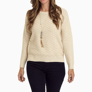 Beige-Gold-Sparkle-Accent-Knit-Sweater