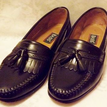 Bass Shoes Vintage Mens Black Leather Tassel Loafer  Size 10 D