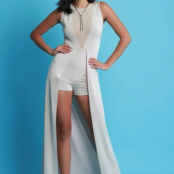 Plunging Mesh Center Sleeveless Romper Maxi Dress