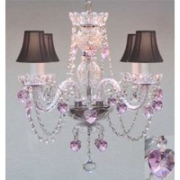 Amazon.com: CRYSTAL CHANDELIER LIGHTING WITH BLACK SHADES & PINK CRYSTAL HEARTS!: Home Improvement