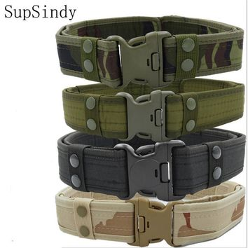 SupSindy 2019 New Army Style Combat Belts Quick Release Tactical Belt Fashion Men Canvas Waistband Outdoor Hunting 5Colors 125cm