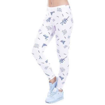 Light Colored Cartoons Pattern Aztec Leggings