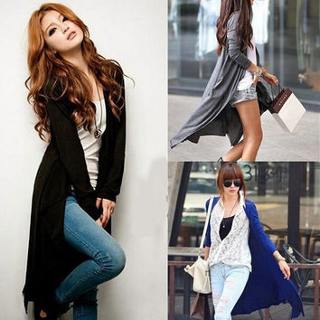 Fashion Womens Casual Long Sleeve Cardigan Knit Knitwear Sweater Coat Long Wraps Outwear = 1920236548