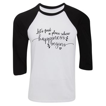 """Jonas Brothers """"Let's find a place where Happiness Begins"""" Baseball Tee"""