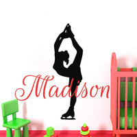 Wall Decals Personalized Name Decal Vinyl Sticker Ballet  Dancer Ballerina Girl Nursery Decor Home Bedroom Interior Design Art Mural MN459