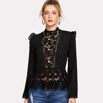 Frilled Shoulder Lace Shirts Crochet Blouse Stand Collar Long Sleeve Top Women Sexy Chiffon Blouse