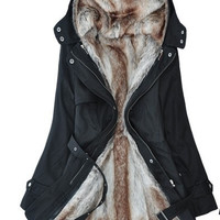 Faux fur lining women's fur Hoodies Ladies coats winter warm long coat jacket cotton clothes thermal parkas = 1930304836