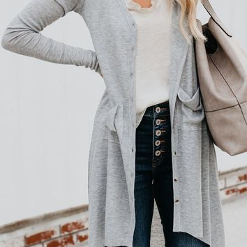 Bastille High-Low Buttoned Cardigan Duster