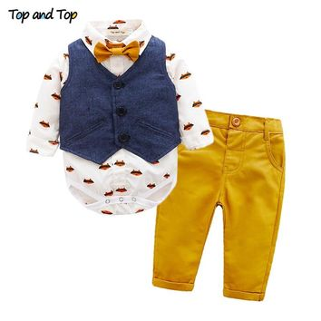 Top and Top Autumn Baby Boys Gentleman Clothing Sets Bow Tie Long Sleeve Romper Shirt + Vest + Trousers Casual Toddler Clothes