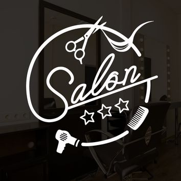 Vinyl Wall Decal Beauty Hair Salon Logo Scissors Hairbrush Stickers (2298ig)