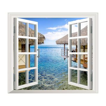 3D Window Sea View Wall Stickers