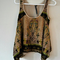 Tribal Flowy Hi-Low Tank Top