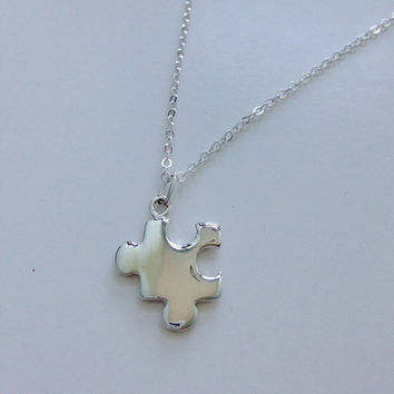 Sterling Silver Puzzle Piece Charm Necklace