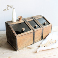 Vintage  Wood Glass Canisters/Bin