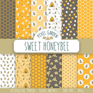 Sweet Honeybee Digital Paper Pack, Honeycomb Scrapbooking Paper, Bumble Bee Digital Clip Art, Floral Printable Paper.
