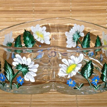 Hand Painted Heart Shaped Bowl With Daisies And Blue Flowers