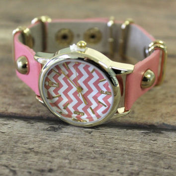 Coral pink Chevron Must have Chevron Watch rhinestone gold Wrist watch accessory jewelry fashion watch