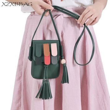 XZXBBAG Women PU Tassels Messenger Bags Girl Cell Phone Pocket Pouch Students Children Crossbody Case Girl Mini Shoulder Bags