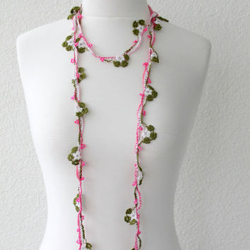 Crochet Lariat Necklace, Strand Necklace, from SeaAsparagus on