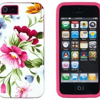 DandyCase 2in1 Hybrid High Impact Hard Pink & Blue Flower Pattern + Hot Pink Silicone Case Case Cover For Apple iPhone 5S & iPhone 5 (not 5C) + DandyCase Screen Cleaner