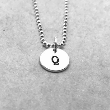 Q Initial Necklace, Sterling Silver, Letter Q Necklace, Hand Stamped Jewelry, Gifts for her, All Letters Available, Everyday Jewelry