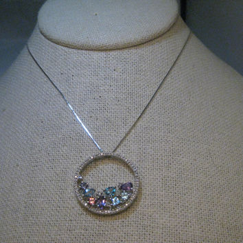 "14kt Circle of Life/Eternity Diamond Gemstone Necklace, 18"" white gold"