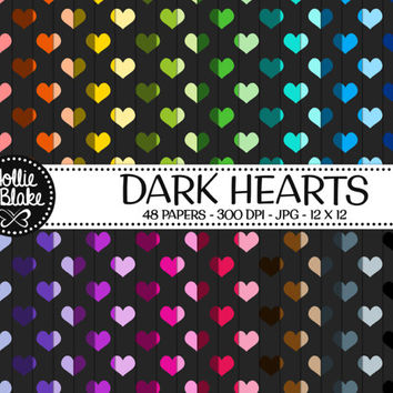 50% off SALE!! 48 Dark Hearts Digital Paper • Rainbow Digital Paper • Commercial Use • Instant Download • #HEARTS-102-1-D