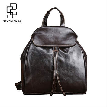 Genuine Cowhide Leather Women Backpacks Fashion Design Female Casual School Bag for Girls Famous Brand Mini Small Vintage Bags