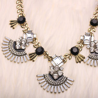 Gatsby Style Crystal Grey and Black Statement Bib Necklace with Earrings Set - Art Deco Style Jewelry