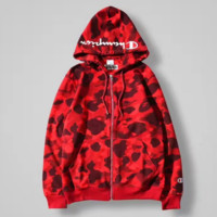 Bape x Champions Fashion Camouflage Hooded Zipper Cardigan Jacket Coat