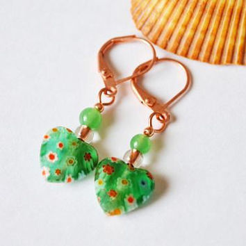Green millefiori heart earrings, adventurine copper jewelry, valentine party, valentines day gift for her, handmade gifts, present for mom