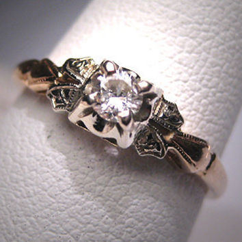 Antique Diamond Wedding Ring Vintage Victorian Art Deco
