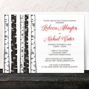 Couples Shower Invitations Birch Tree - Monochrome Black and White with Red - Printed Invitations