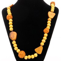 Vintage Wooden beads & Nut Necklace | VintageAnelia - Jewelry on ArtFire