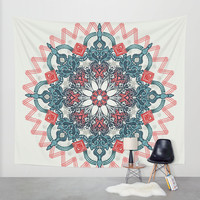 Coral & Teal Tangle Medallion Wall Tapestry by Micklyn