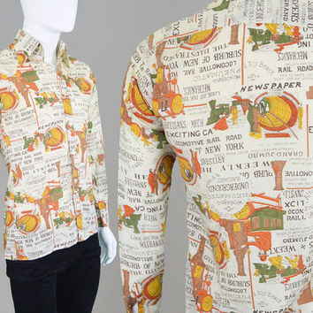 Vintage 70s Disco Shirt Novelty Print Newspaper Shirt Mod Shirt 1970s Party Shirt Western Shirt Art Deco Dagger Collar Button Up Groovy