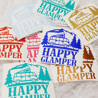 4X4 Inch Large Happy Glamper Camping, RV, Motorhome Permanent Vinyl Decal/Bumper Sticker