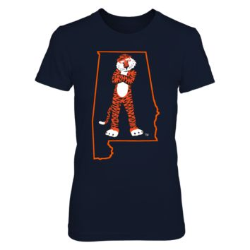 AUBIE IN STATE OUTLINE - AUBURN TIGERS - T-Shirt - Officially Licensed Fashion Sports Apparel