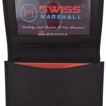 Swiss Marshall Men's RFID Blocking Premium Leather Expandable Small Credit Card ID Business Card Holder Wallet