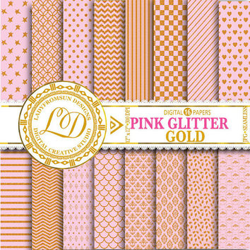 Pink Glitter Gold Paper Pack, chevron, Pink and gold, polka dots, stripes, Scrapbook Paper and Backgrounds Commercial-Personal Use