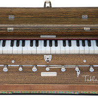 MAHARAJA MUSICALS Harmonium No. 244 - Well-tuned, A440, 7 Stop, Standard, 3.25 Octaves, Coupler, Multi-fold Bellow, Walnut Color