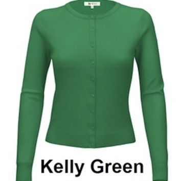 MAK classic Button Up Sweater in Kelly Green