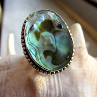 925 Paua New Zealand sterling ring abalone silver ring shell rings sterling sea opal genuine paua sea opal abalone silver ring size 8 1/2